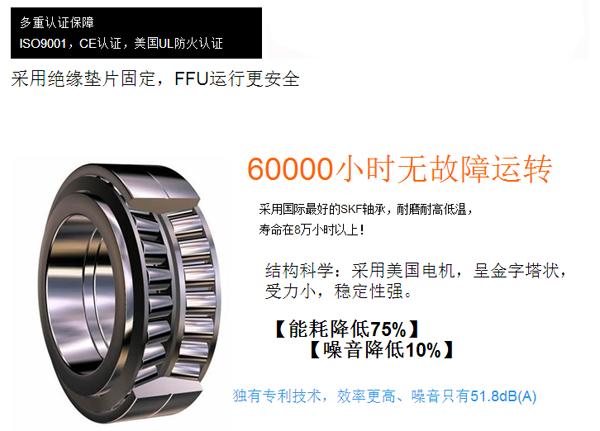 直流FFU采用美国电机,6000小时无故障运转
