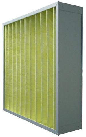 箱式中效过滤器主要适用于空调系统的中级过滤,位于高效过滤器的前端,用于过滤1-5um的尘埃粒子,以保护系统中下一级过滤器和系统本身。