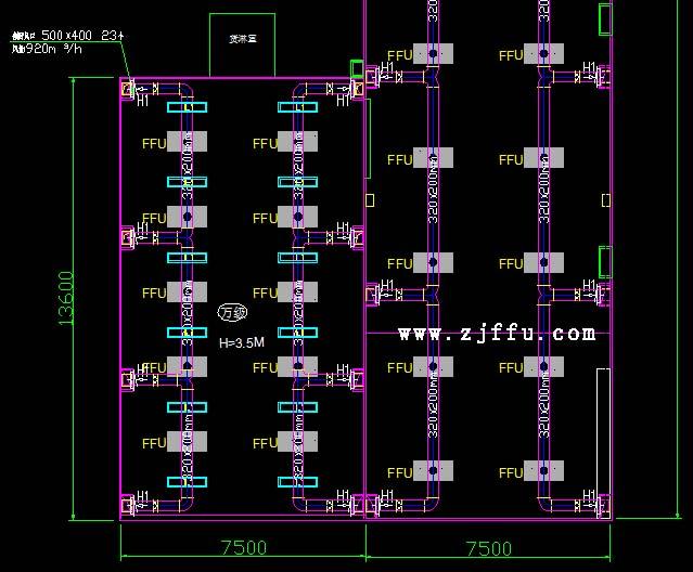 ffu需要做回风管的净化工程设计图