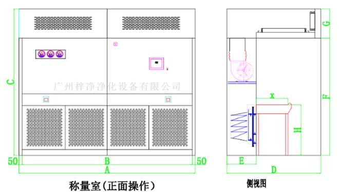 负压称量室结构图由初效、中效、高效、风机等部件组成